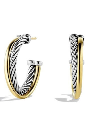David Yurman 'Crossover' Small Hoop Earrings with Gold