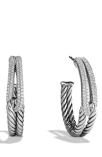David Yurman 'Labyrinth' Hoop Earrings with Diamonds