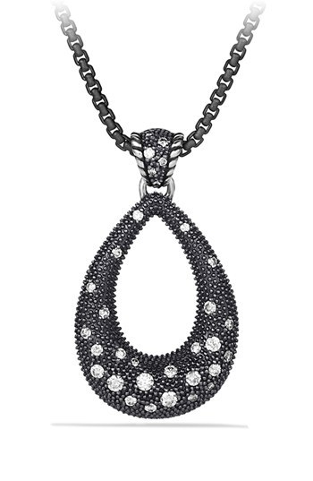 David Yurman 'Midnight Melange' Large Drop Pendant with Diamonds on Chain