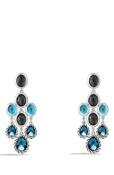 David Yurman 'Mosaic - Color Classic' Chandelier Earrings with Hampton Blue Topaz, Black Orchid & Gr