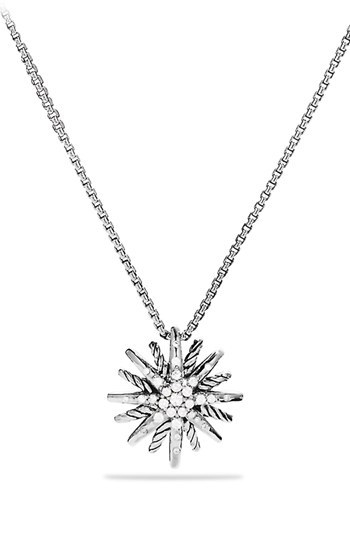 David Yurman 'Starburst' Small Pendant with Diamonds on Chain