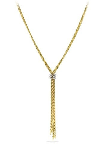 David Yurman 'Willow' Tassle Necklace with Diamonds in Gold