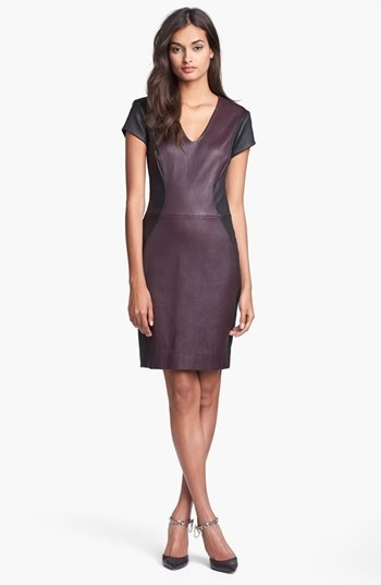 Diane von Furstenberg 'Teala' Colorblock Leather Sheath Dress