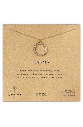 Dogeared 'Karma' Boxed Mixed Metal Charm Necklace