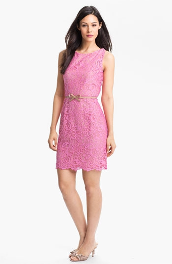 Donna Morgan Belted Lace Sheath Dress