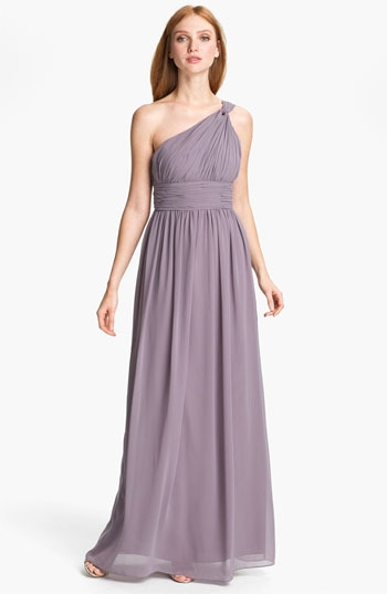 Donna Morgan Ruched One Shoulder Chiffon Gown