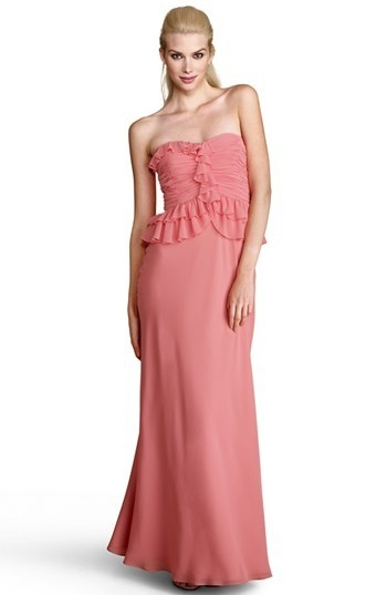 Donna Morgan Ruffled Peplum Chiffon Gown