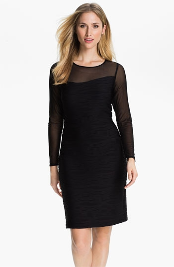 Donna Ricco Illusion Sleeve Textured Sheath Dress