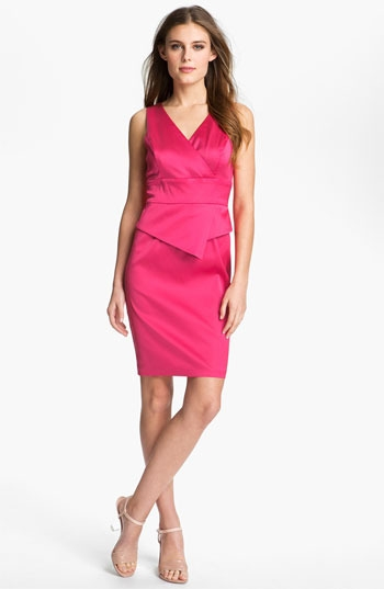 Donna Ricco Satin Peplum Sheath Dress