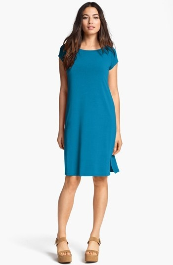Eileen Fisher Bateau Neck Cap Sleeve Dress