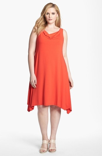 Eileen Fisher Cowl Neck Dress (Plus)