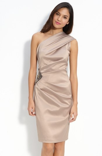 Eliza J Beaded One Shoulder Satin Dress