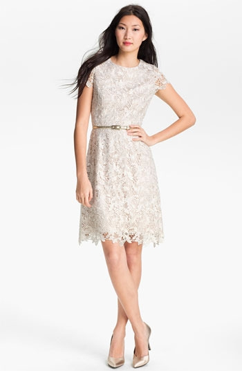Eliza J Belted Lace Dress