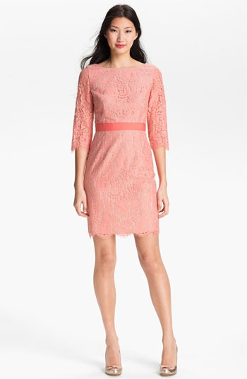 Eliza J Boatneck Lace Sheath Dress
