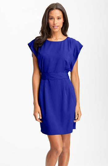 Eliza J Drape Sleeve Sash Belt Dress