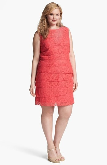 Eliza J Lace Shutter Pleat Dress (Plus Size)