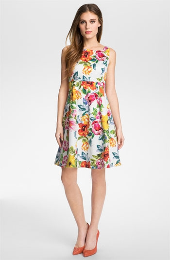 Eliza J Print Fit & Flare Dress