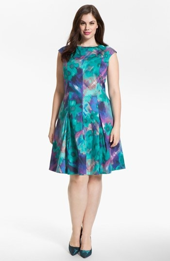 Eliza J Print Fit & Flare Dress (Plus)