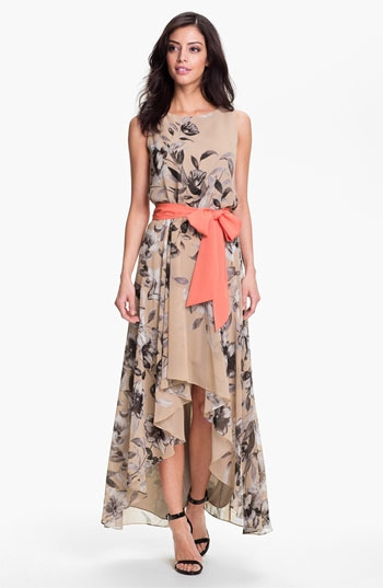 Eliza J Print High/Low Chiffon Maxi Dress