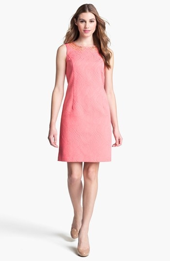 Ellen Tracy Embellished Jacquard Shift Dress
