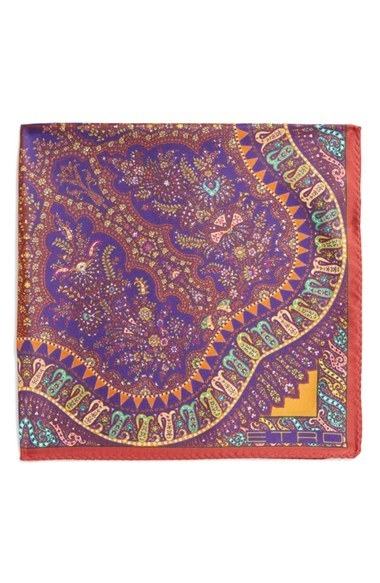 Etro Print Silk Pocket Square