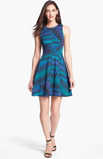 French Connection Zigzag Print Fit & Flare Dress