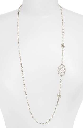 Frieda Rothman Long Love Knot Station Necklace