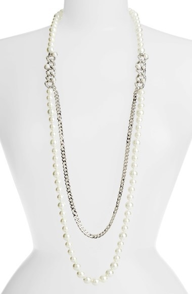 Givenchy Glass Pearl & Chain Long Necklace