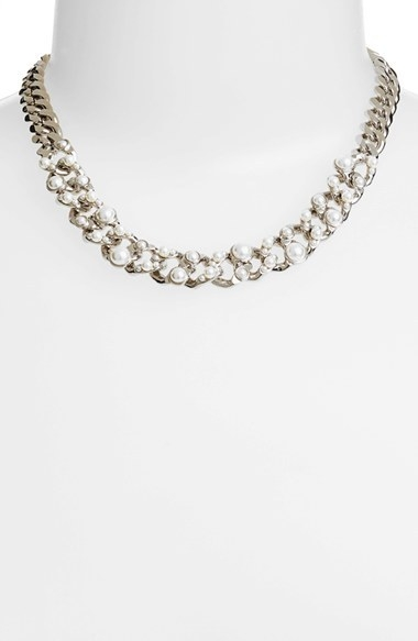 Givenchy Glass Pearl & Link Collar Necklace