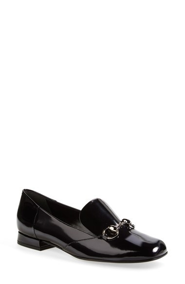 Gucci 'Lillian' Horsebit Patent Leather Flat