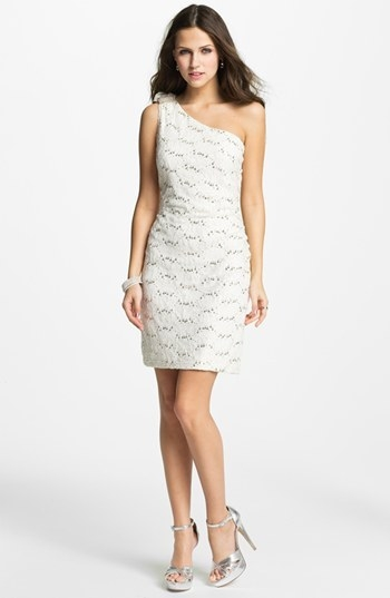 Hailey by Adrianna Papell Embellished One Shoulder Lace Dress (Online Exclusive)