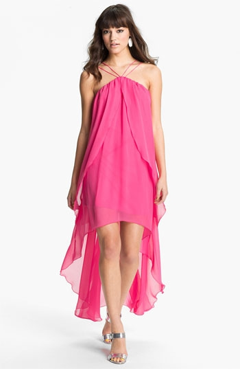 Hailey by Adrianna Papell High/Low Chiffon Dress (Online Exclusive)