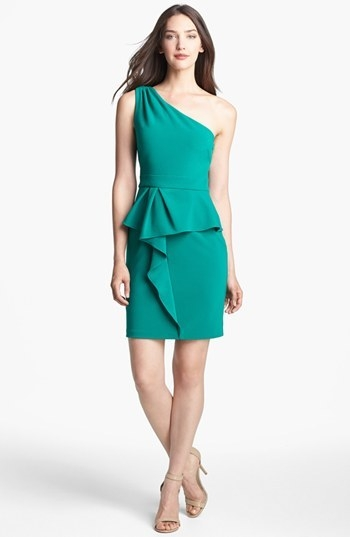 Hailey by Adrianna Papell One Shoulder Peplum Dress