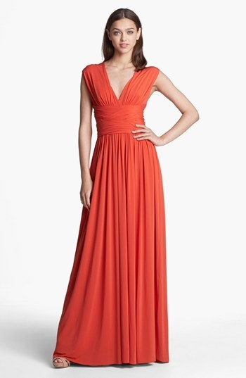 Halston Heritage Crisscross Detail Jersey Gown