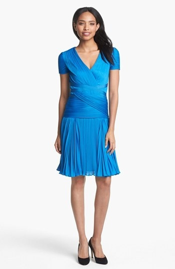 Halston Heritage Pleat Drop Waist A-Line Dress