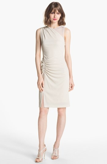 Halston Heritage Ruched Crepe Sheath Dress