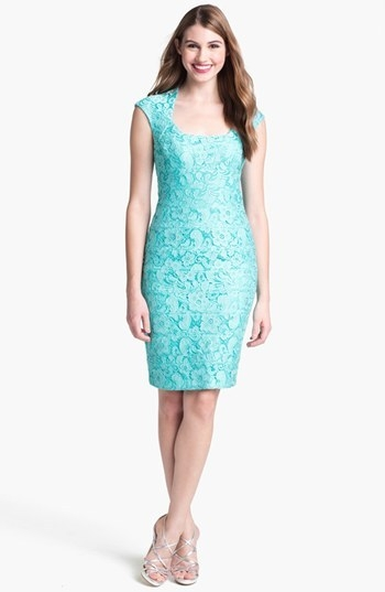JAX Cap Sleeve Lace Sheath Dress
