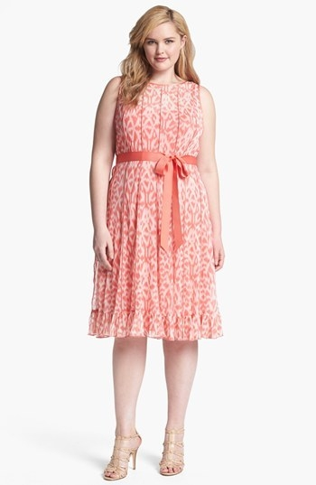 Jessica Howard Print Pintucked Chiffon Dress (Plus Size)