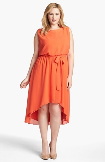 Jessica Simpson Blouson High/Low Crepe Dress (Plus)