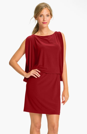 Jessica Simpson Draped Sleeve Jersey Blouson Dress