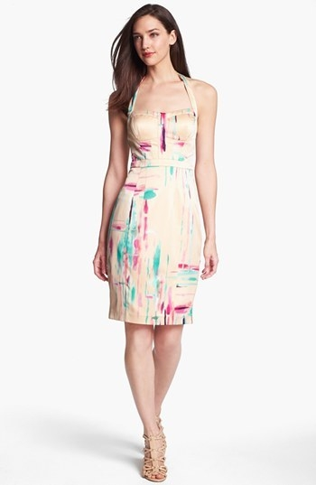 Jessica Simpson Print Halter Pencil Dress