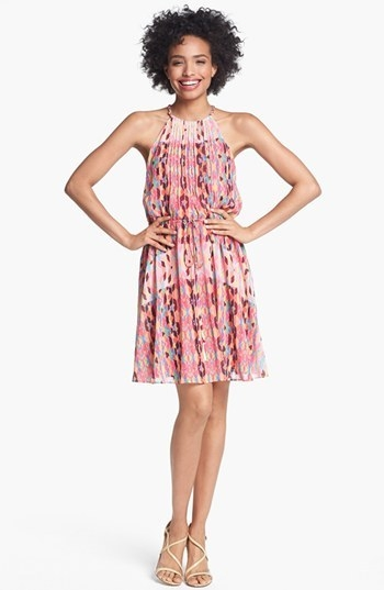 Jessica Simpson Print Pintucked Chiffon Dress