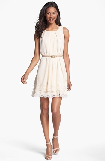 Jessica Simpson Tiered Eyelet Crepe de Chine Dress