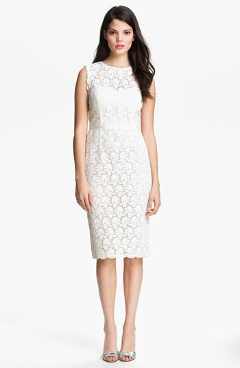 Jill Stuart Illusion Yoke Lace Sheath Dress
