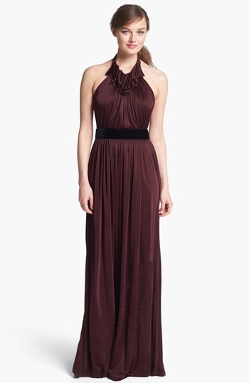 Jill Stuart Ruffled Jersey Halter Dress