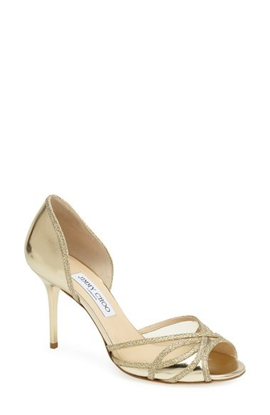 Jimmy Choo 'Mulan' Glitter Trim Open Toe d'Orsay Pump (Women)