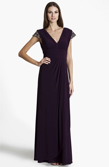 JS Boutique Embellished Pleated Surplice Gown