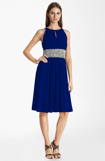 JS Boutique Embellished Ruched Jersey Dress