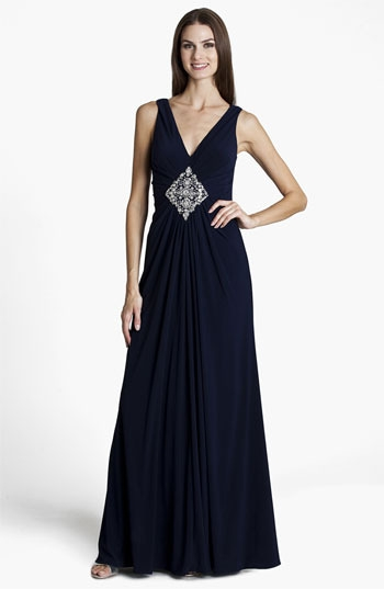 JS Boutique Embellished V-Neck Gown