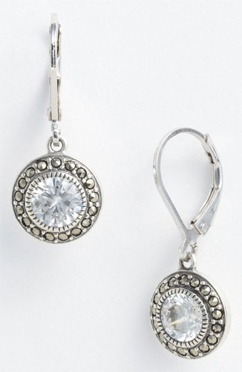 Judith Jack Marcasite & Cubic Zirconia Drop Earrings